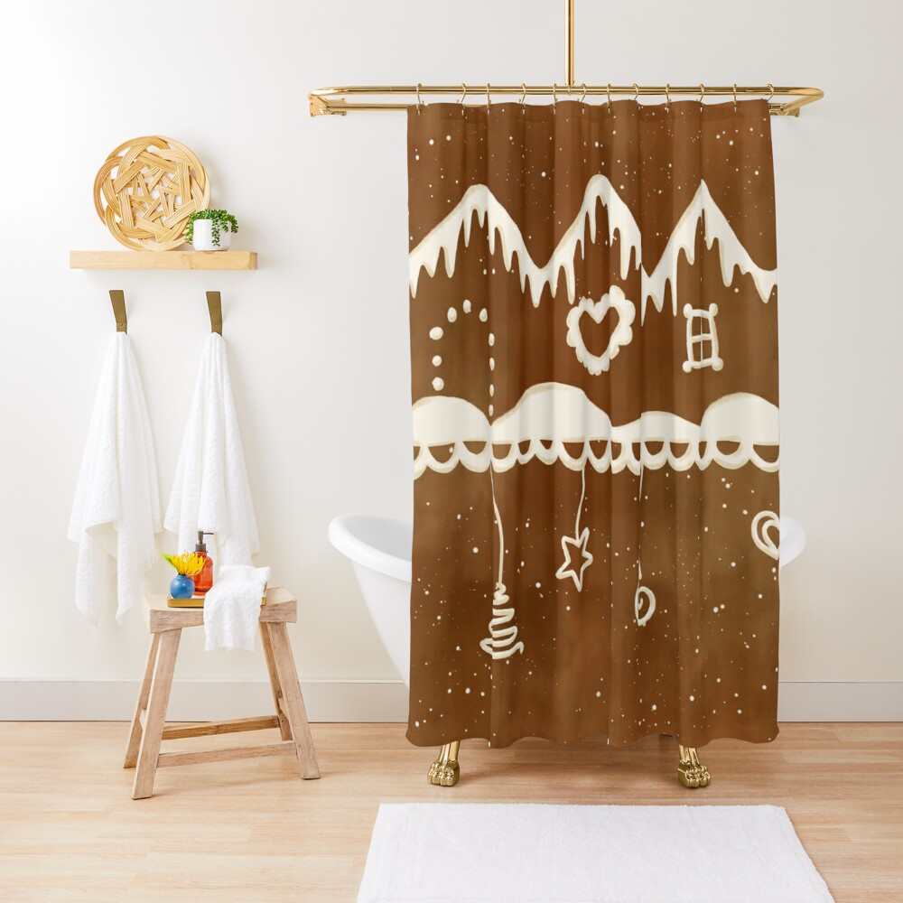 Gingerbread street Shower Curtain
