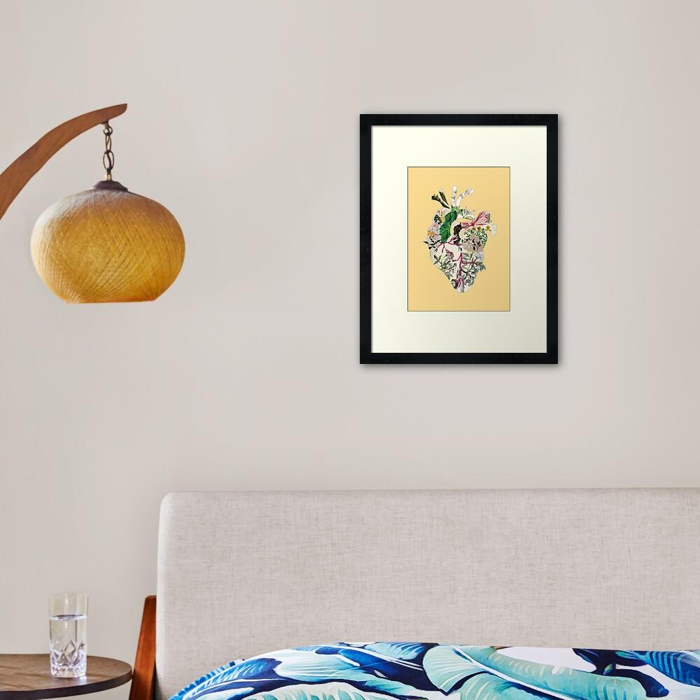 Weinlese-botanisches Herz - Sonnenschein Gerahmter Kunstdruck