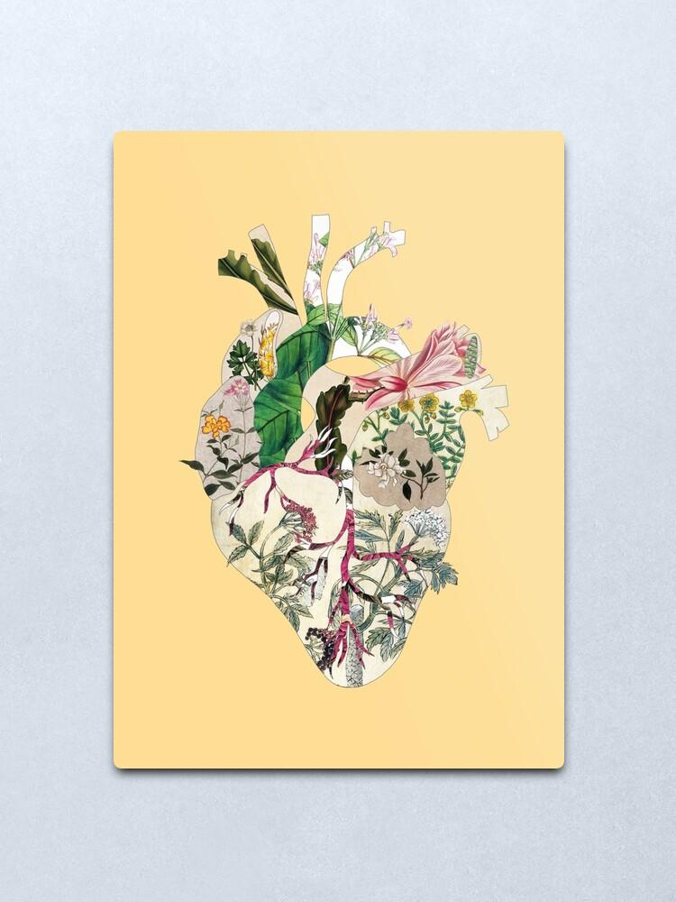 Alternate view of Vintage Botanical Heart - sunshine Metal Print