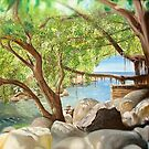 """""""Rio Cuale"""" - oil painting of a Mexican river by James  Knowles"""