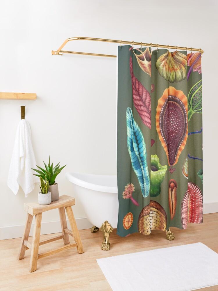 Alternate view of Ediacaran Plate Shower Curtain