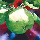 """""""Green Apples"""" - large oil painting of an apple by James  Knowles"""
