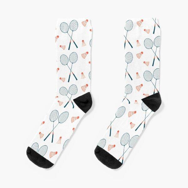 Let's Play Badminton - sweet illustration in blue & red Socks