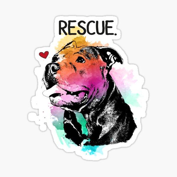 Rescue Pitbull Dog Watercolor Sticker