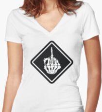 FUNNY SKULL middle finger Women's Fitted V-Neck T-Shirt