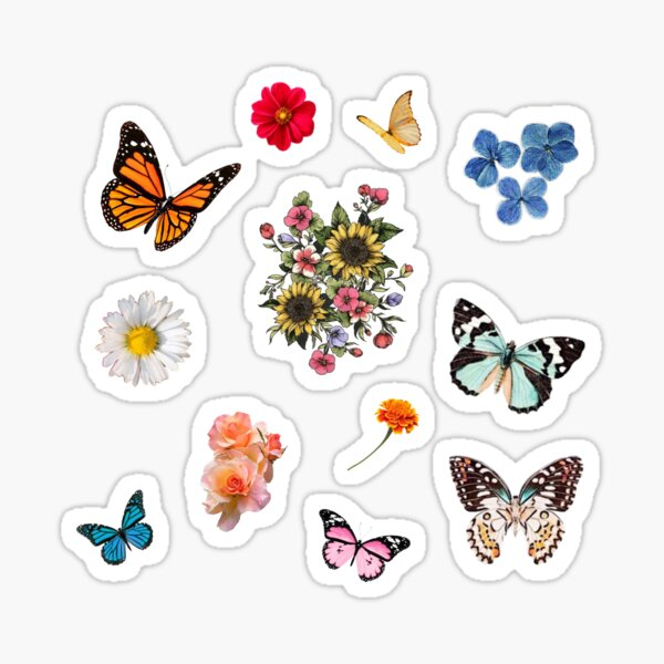 flowers and butterflies sticker pack  Sticker