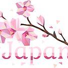 Geometrisches Japan - Sakura Cherry Blossoms auf weißem Hintergrund von XOOXOO