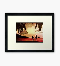 A romantic evening : Oil Painting Framed Print