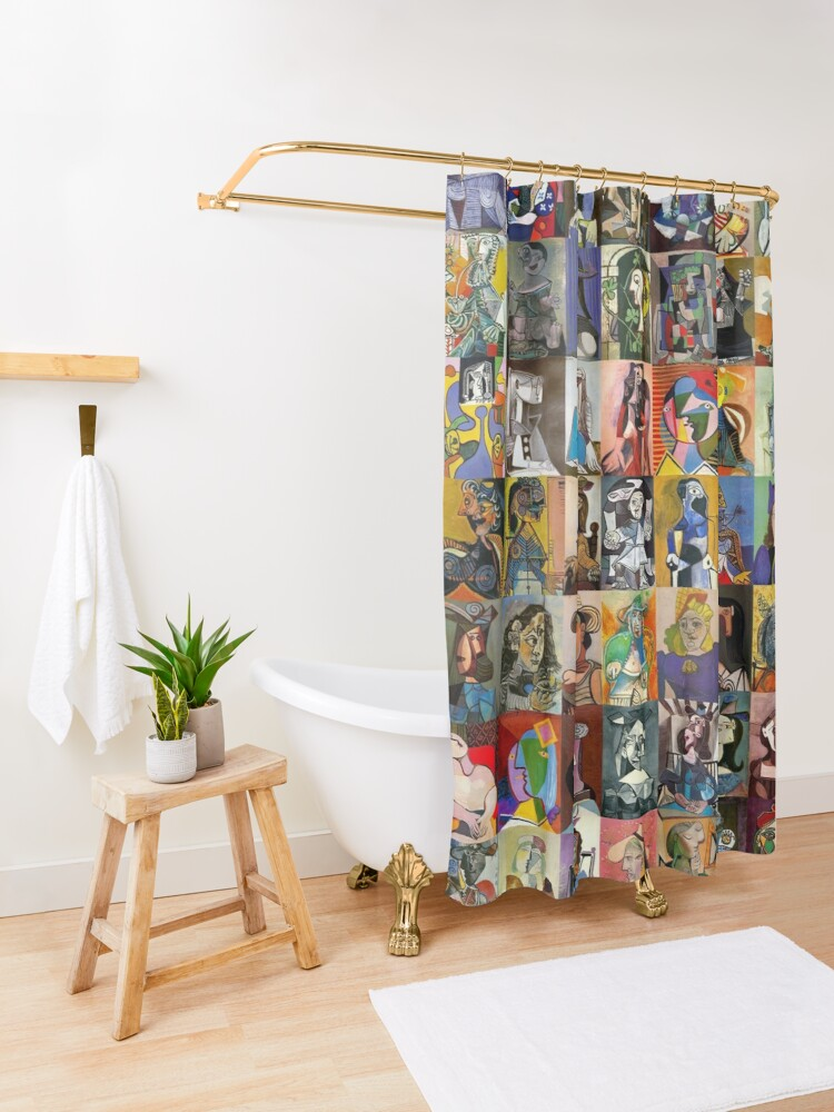 Alternate view of Picasso Faces Shower Curtain