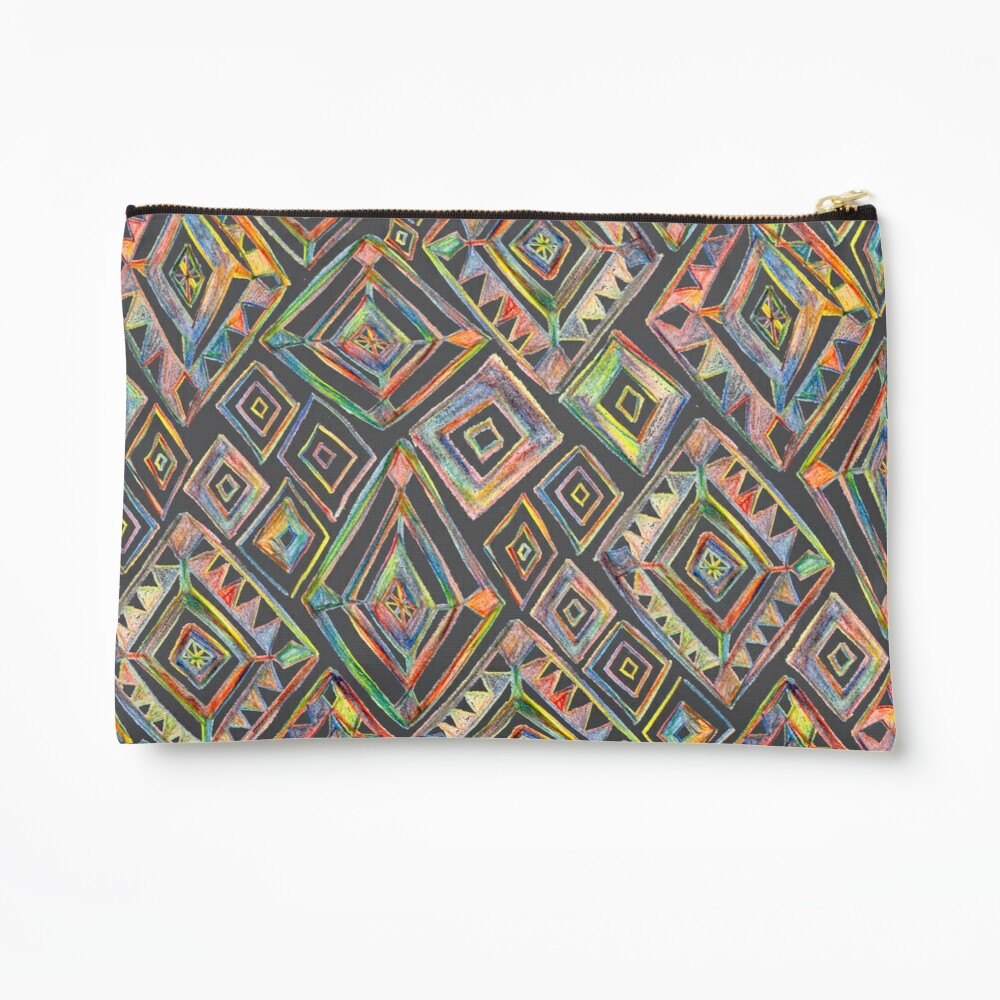 Rainbow Prism Colorful Diamond Pattern Zipper Pouch