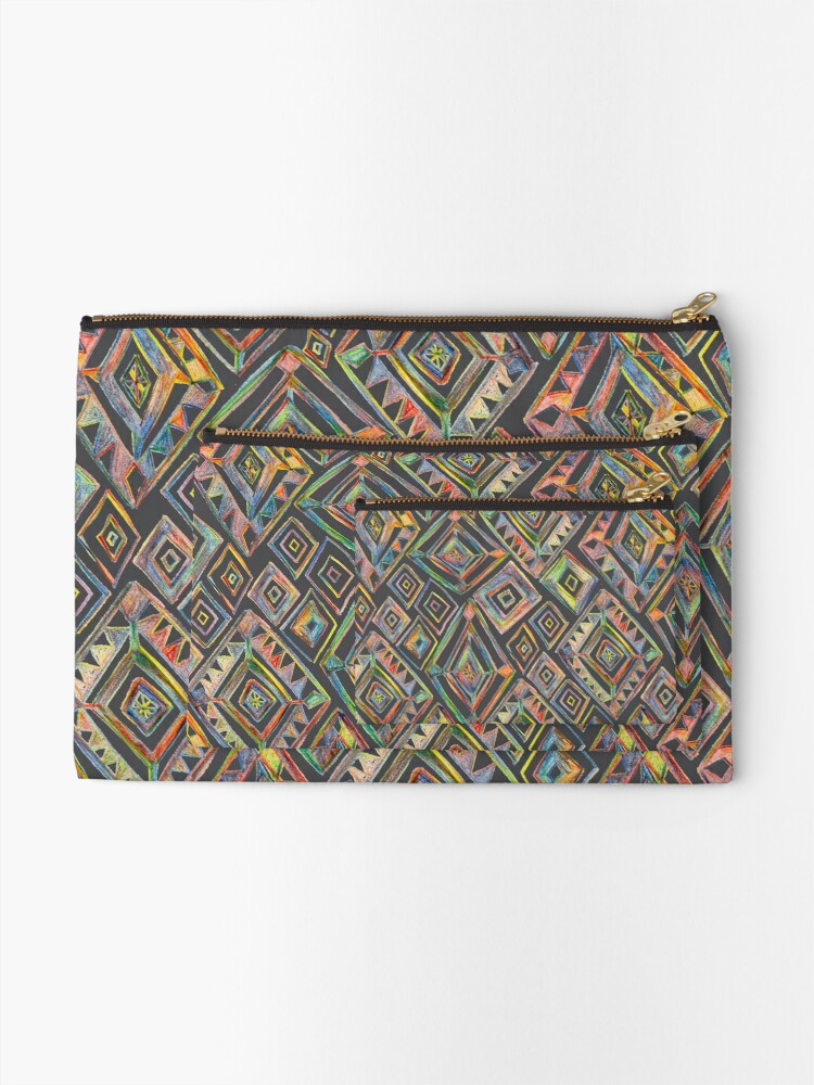 Alternate view of Rainbow Prism Colorful Diamond Pattern Zipper Pouch