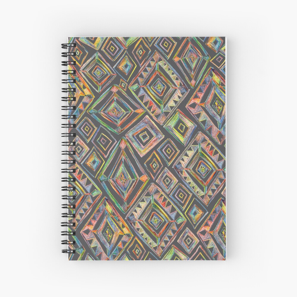 Rainbow Prism Colorful Diamond Pattern Spiral Notebook