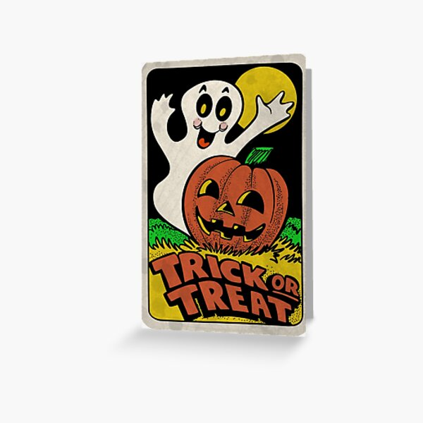 Vintage Halloween Trick or Treat Ghost with Pumpkin Greeting Card