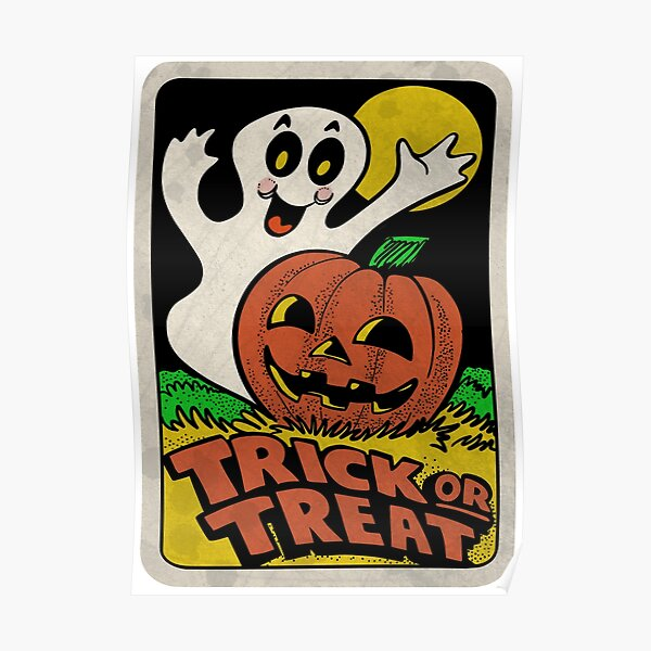 Vintage Halloween Trick or Treat Ghost with Pumpkin Poster