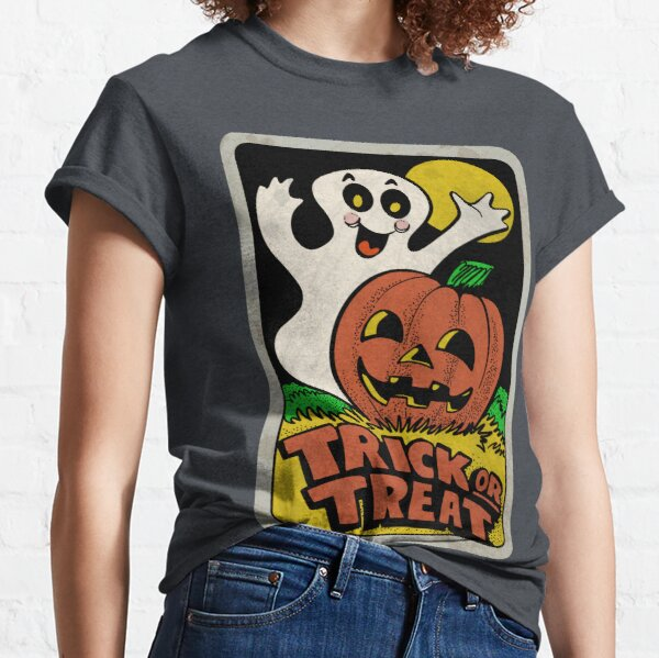 Vintage Halloween Trick or Treat Ghost with Pumpkin Classic T-Shirt