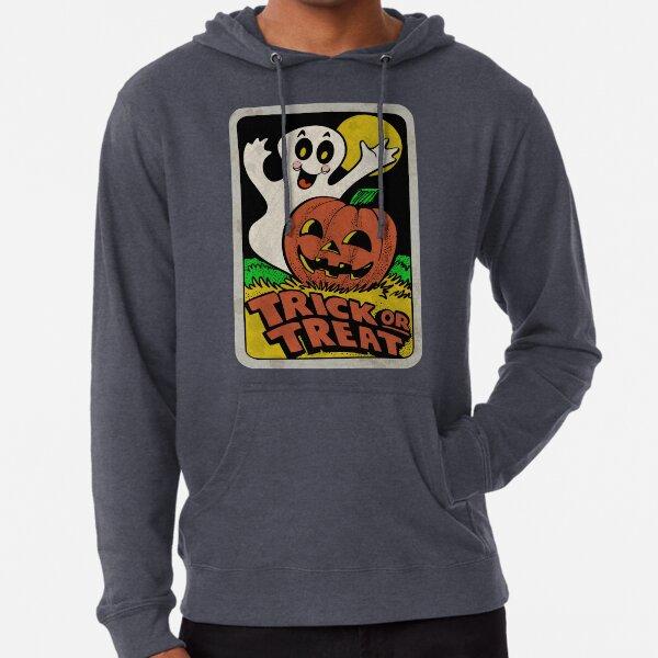 Vintage Halloween Trick or Treat Ghost with Pumpkin Lightweight Hoodie