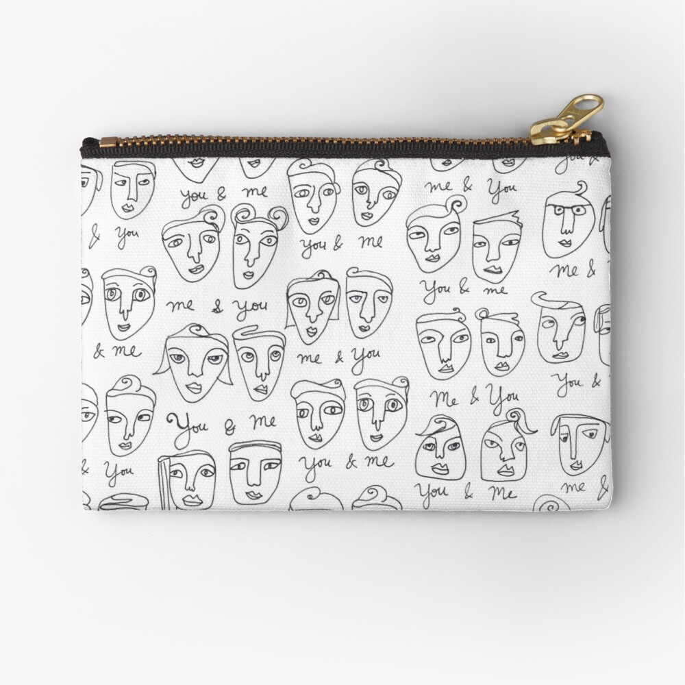 Me & You Faces Line Drawing Pattern Zipper Pouch