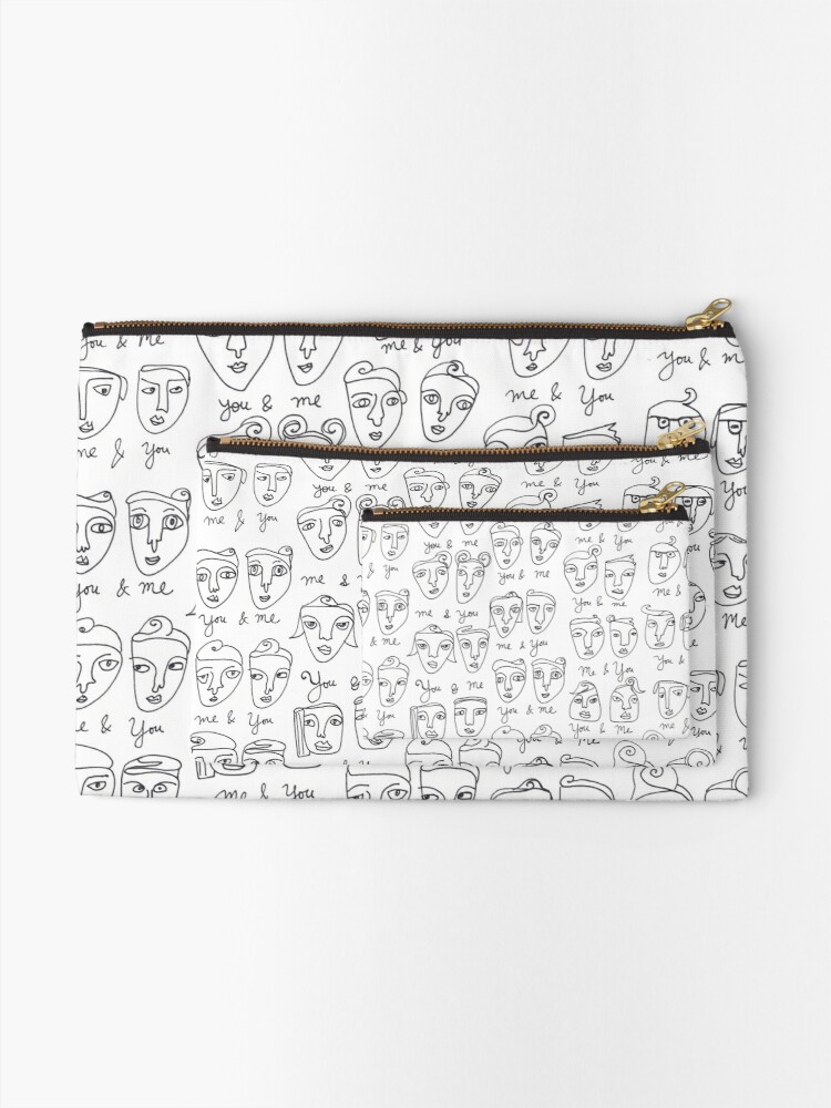 Alternate view of Me & You Faces Line Drawing Pattern Zipper Pouch