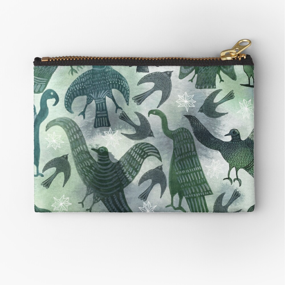 Ancient Green Birds Zipper Pouch