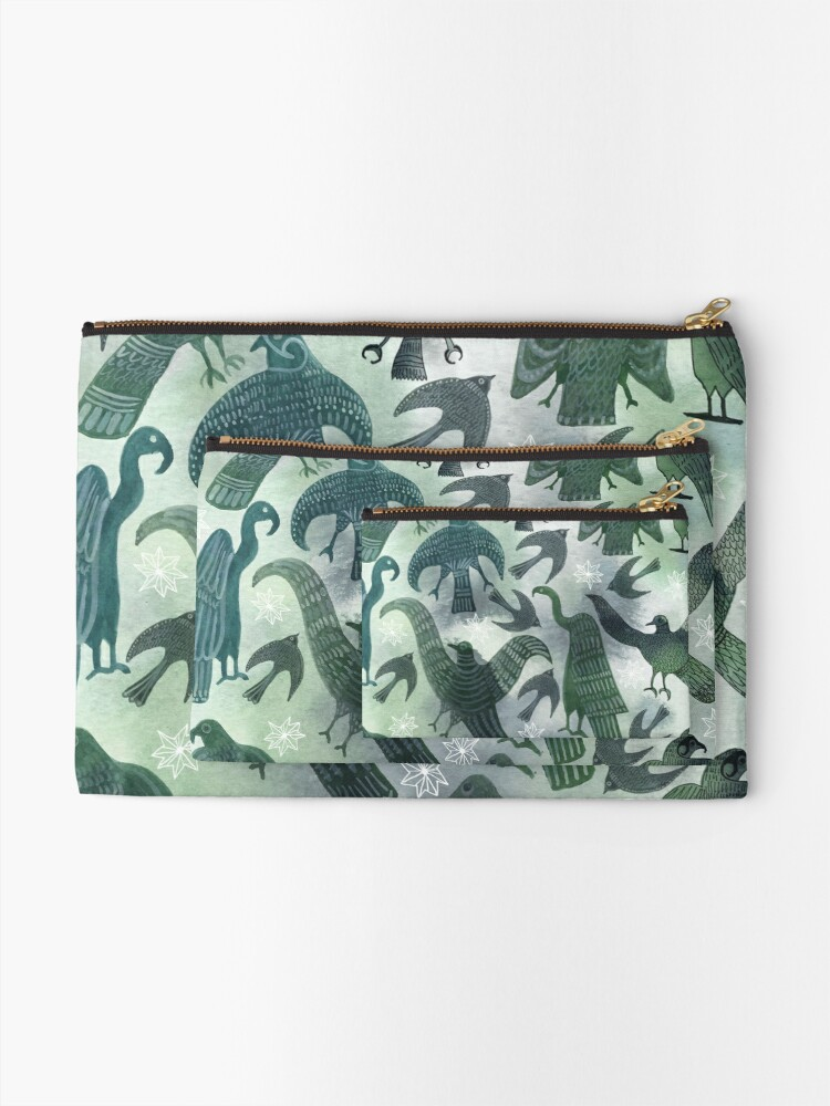 Alternate view of Ancient Green Birds Zipper Pouch
