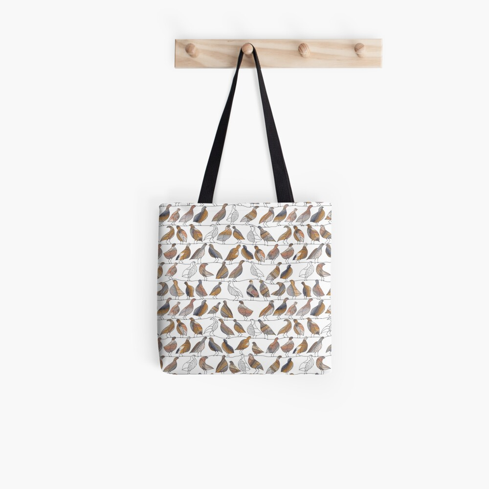Doves on Wires Watercolor Pattern Tote Bag
