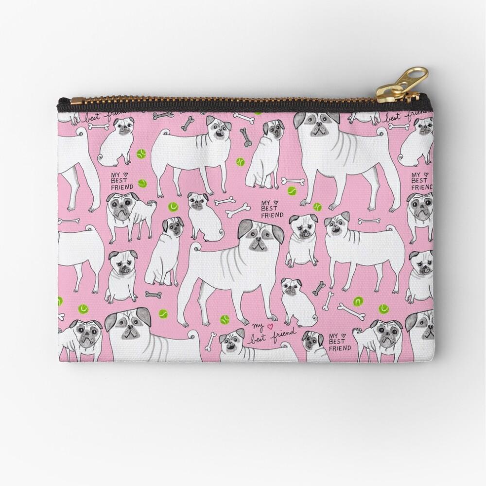 Funny Pugs - My Best Friend - Pink  Zipper Pouch