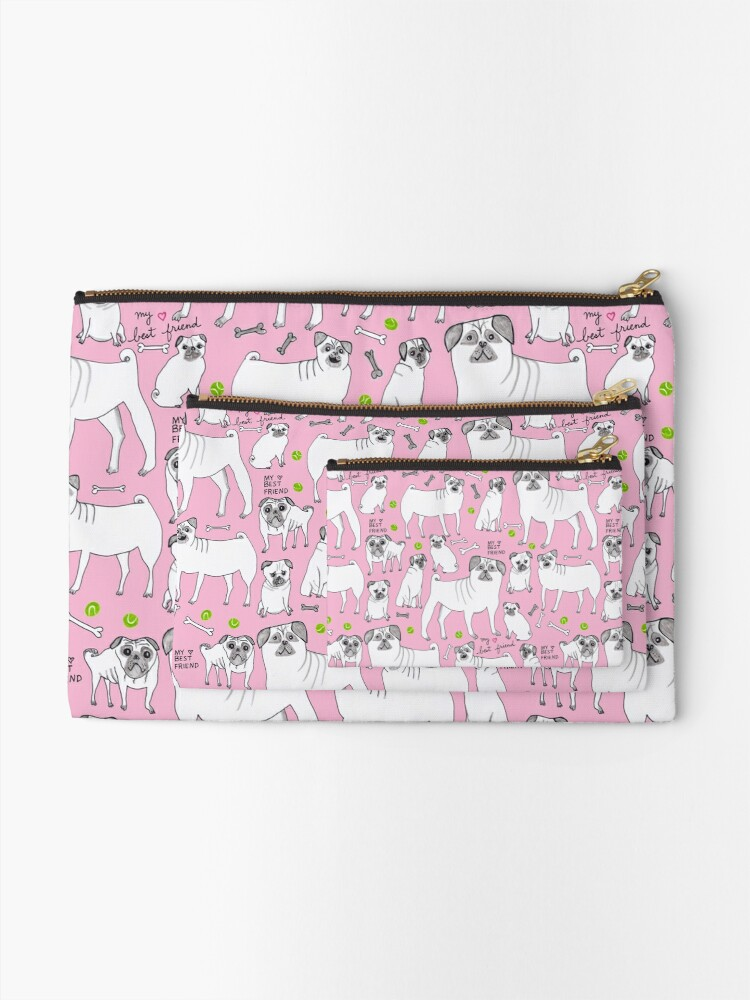 Alternate view of Funny Pugs - My Best Friend - Pink  Zipper Pouch