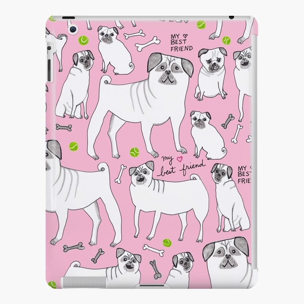 Funny Pugs - My Best Friend - Pink  iPad Case & Skin