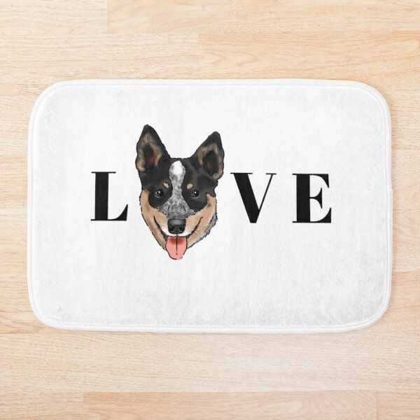 Australian Cattle Dog Lover, Blue Heeler Love, Graphic Cattle Dog, Smiling Cattle Dog, Cute Australian Cattle Dog Bath Mat