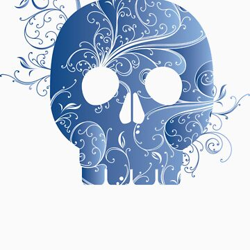 blue floral skull by snowghost