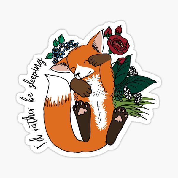 I'd rather be sleeping - cute fox napping Sticker