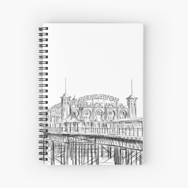 Brighton Pier illustration - Brighton Palace Pier Spiral Notebook