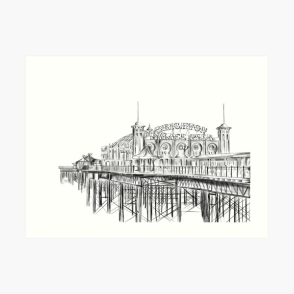 Brighton Pier illustration - Brighton Palace Pier Art Print