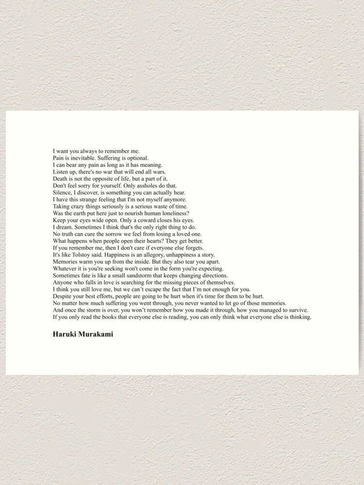Alternate view of Haruki Murakami Quotes Art Print