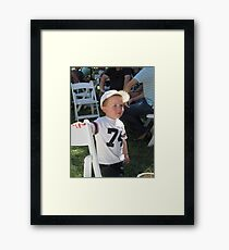'I'M NOT SURE ABOUT THAT!' delightful little boy. Framed Print