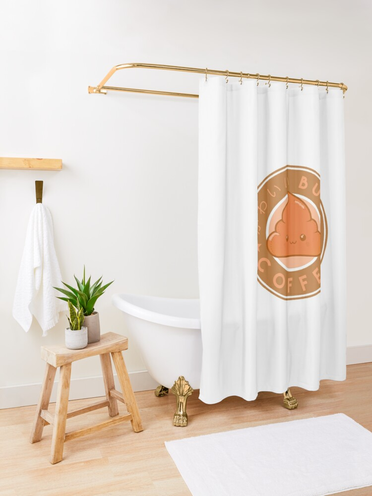 Alternate view of KawaiiBucks Coffee Japanese funny and cute Shower Curtain