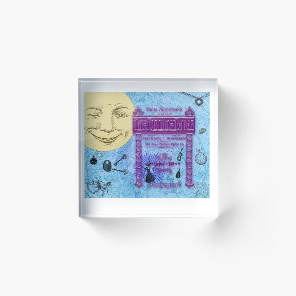 The Fortune Teller By Moonlight In Shimmering Blue, Purple, Yellow Acrylic Block