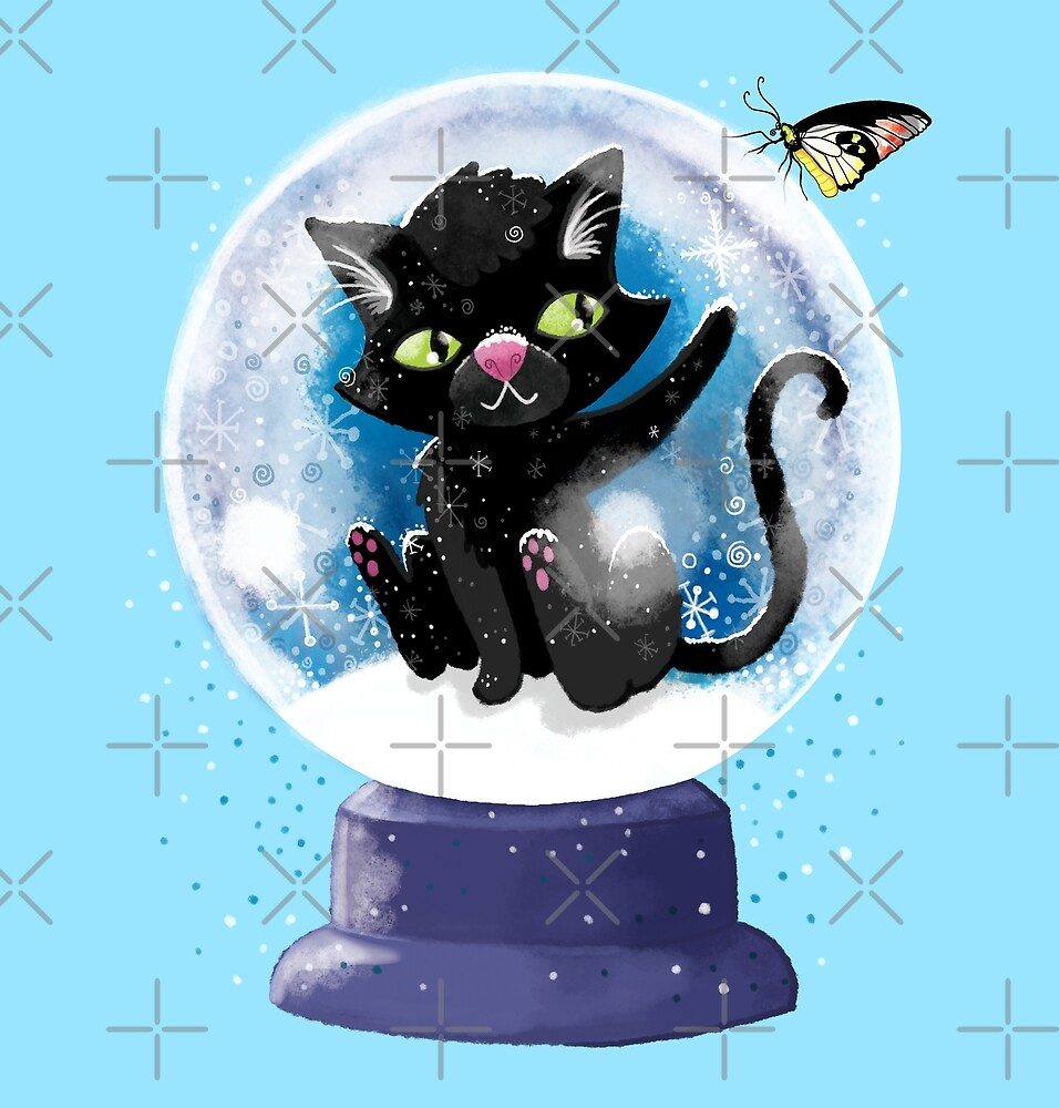 Black winter kitty in a snow globe and butterfly by jasmineberry