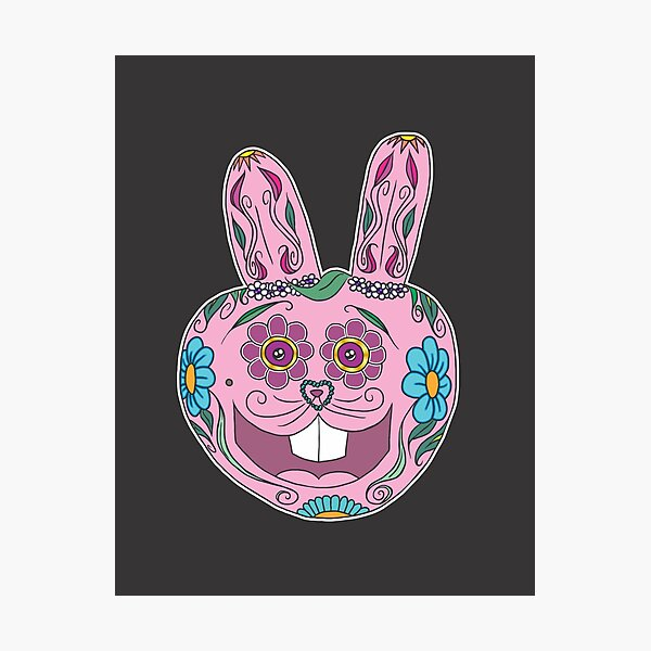 Caprice the Crudely Drawn Bunny - Sugar Skull Photographic Print