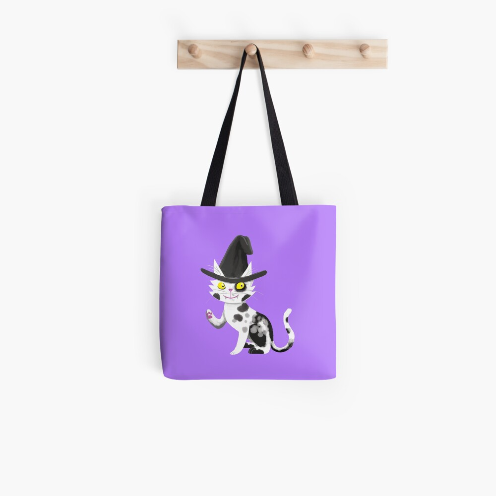 Black and white witches cat Tote Bag