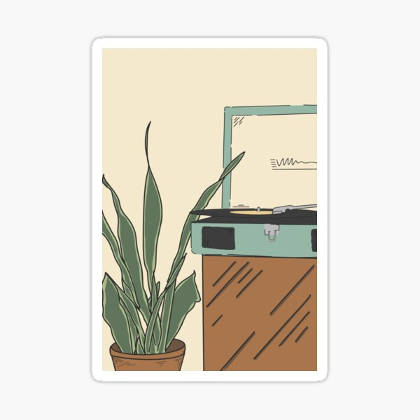 Record Player & Plants Sticker