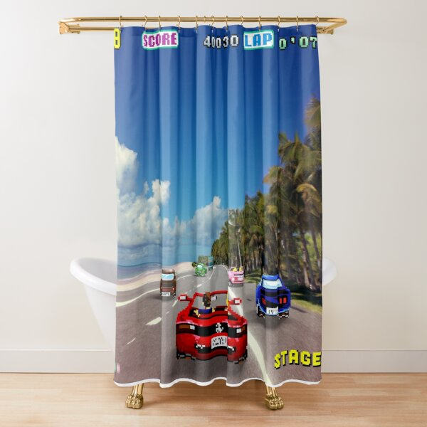 Outrun retro - Pixel art Shower Curtain