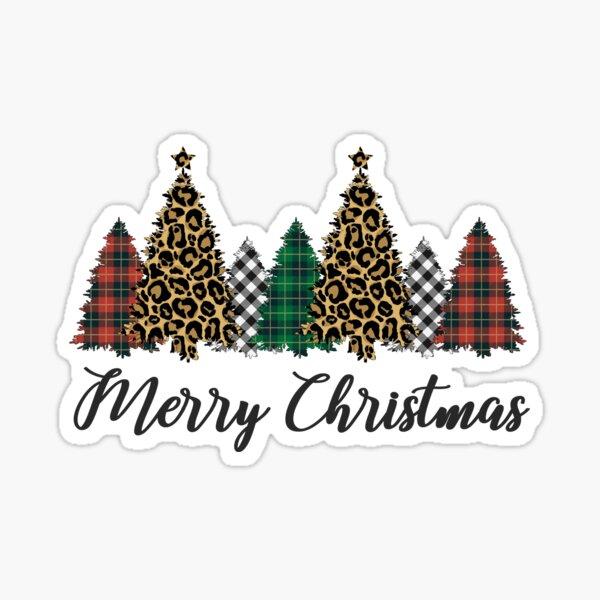 Merry Christmas Rustic Trees Leopard Buffalo Plaid Xmas Tree Sticker
