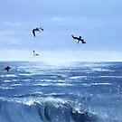 """""""Pelicanos de Melaque"""" - oil painting of pelicans by James  Knowles"""