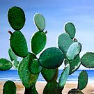 """""""Nopal de la Mar"""" - oil painting of a cactus on the beach by James  Knowles"""