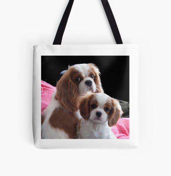 Cavalier Mum and Baby All Over Print Tote Bag