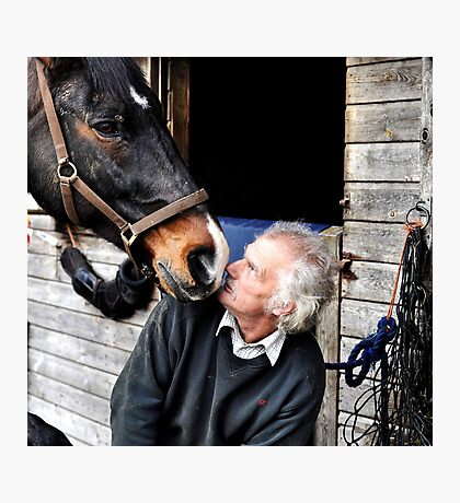 Farrier & horse heated conversation Photographic Print