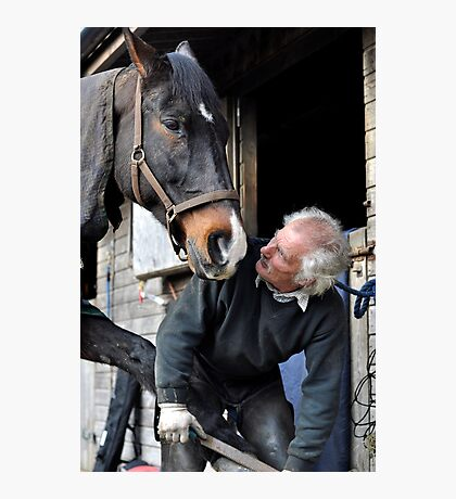 Farrier and horse dialogue Photographic Print