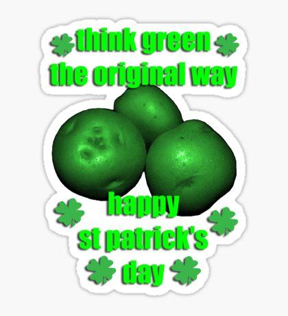 happy st pat's - green potatos Sticker