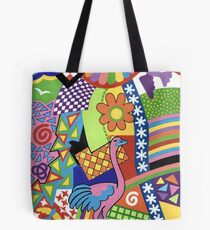 COLORS AND CHAPES WITH BIRDS - BRUSH AND GOUACHE Tote Bag